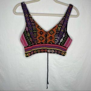 Angie embroidered Aztec boho crop top v neck